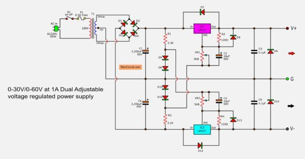 0 60v Dual Variable Power Supply Circuit By Lm317 Lm337 Power Supply Circuit Power Supply Power
