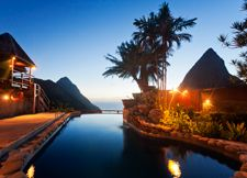 "Ladera Resort - St. Lucia, West Indies -  The 32 suites all have an ""open wall"" – the west side of each unit is left open to expose the breathtaking view, and the orientation of the buildings maintains complete privacy."