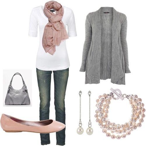 baby roze sjaal en ballarina + grijze gilet