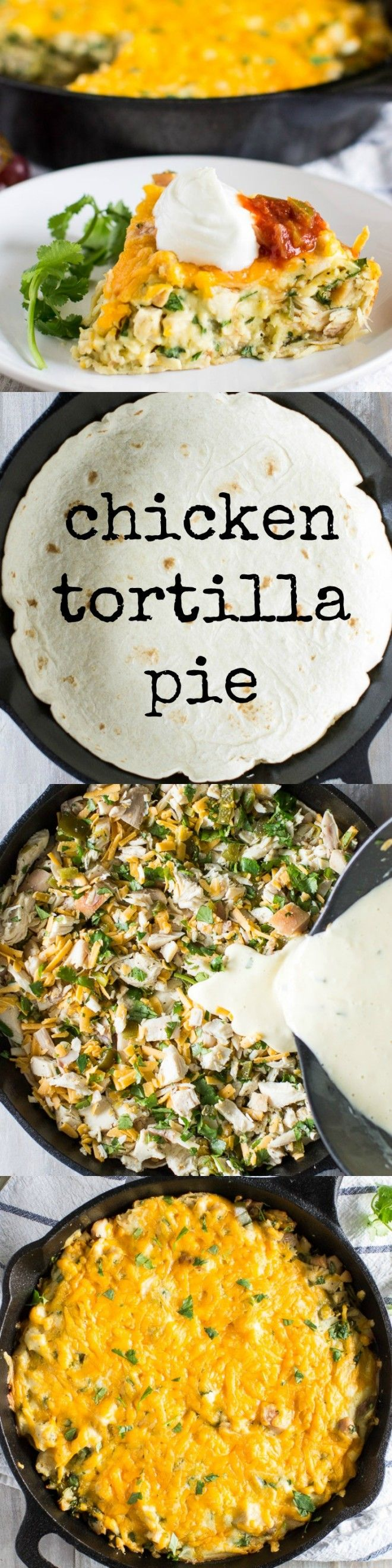 This Chicken Tortilla Pie has the easiest crust ever topped with a cheesy flavorful filling. Best of all it's on the table in 30 minutes or less.