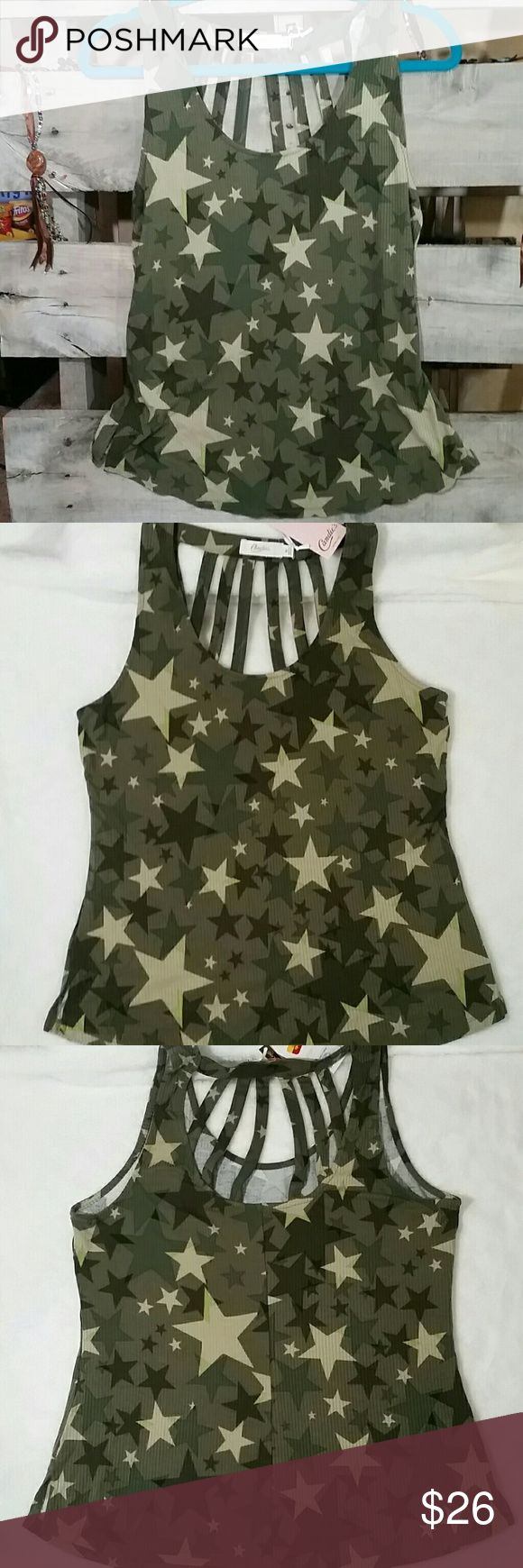🆕NWT  Candies Ladder Back Star Camo Tank Candies LIMITED Quantity Ladder back Star Camo Tank! Very Stylish /Absolutely   must add to your Current Camo wardrobe! Candie's Tops Tank Tops