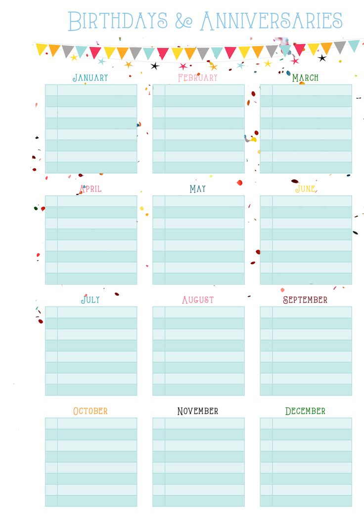 Birthdays & Anniversaries on One Page - Free Printable | MsWenduhh Planners & Printables