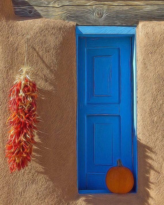 Original Fine Art Photography: Fall in New Mexico with traditional chili ristra decoration. The blue color around doors is a New Mexican