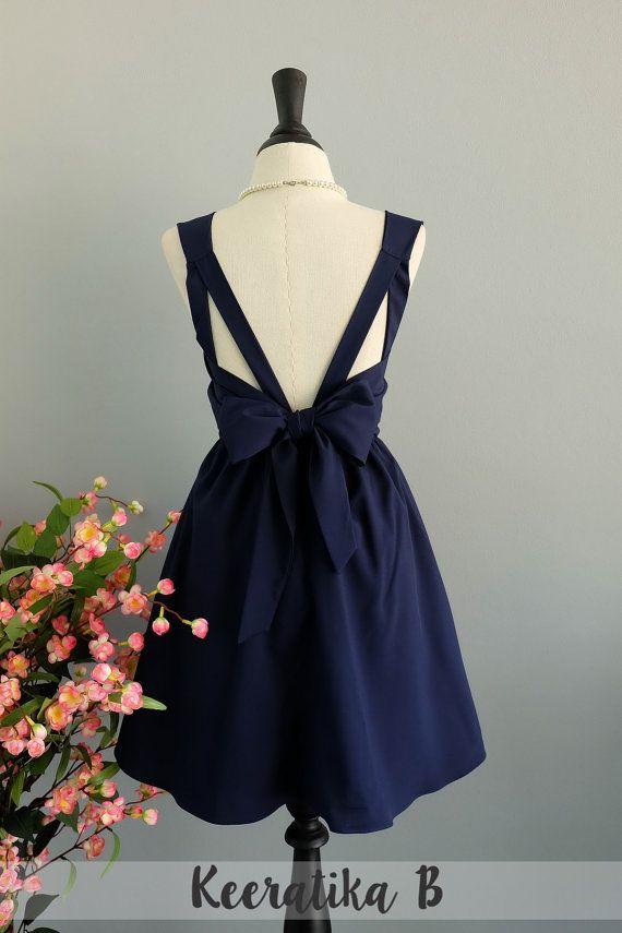 Party V Backless Dress Navy Dress Navy by LovelyMelodyClothing