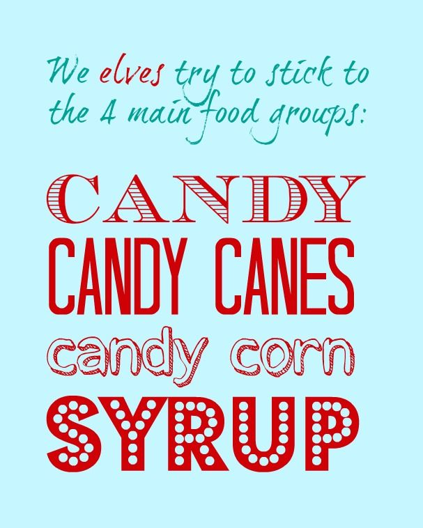 Elves 4 Main Food Groups Free Printable. It's so cute you're going to need this for your Christmas decor.