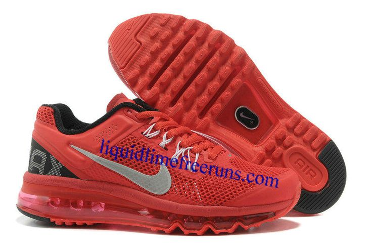 Womens Nike Air Max 2013 Red Black Silver Shoes