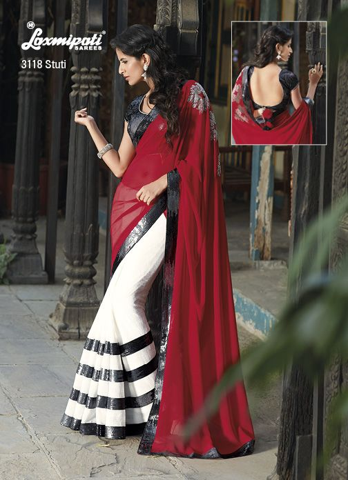 Multi sequential work on the border  blouse boost up the beauty of maroon-white colored saree. And also having neatly diamond studded on the maroon pallu. Two Thumbs Up to this saree !