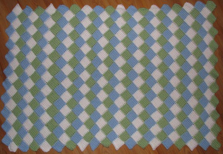 Tunisian Crochet Entrelac baby blanket. (Pattern from ...