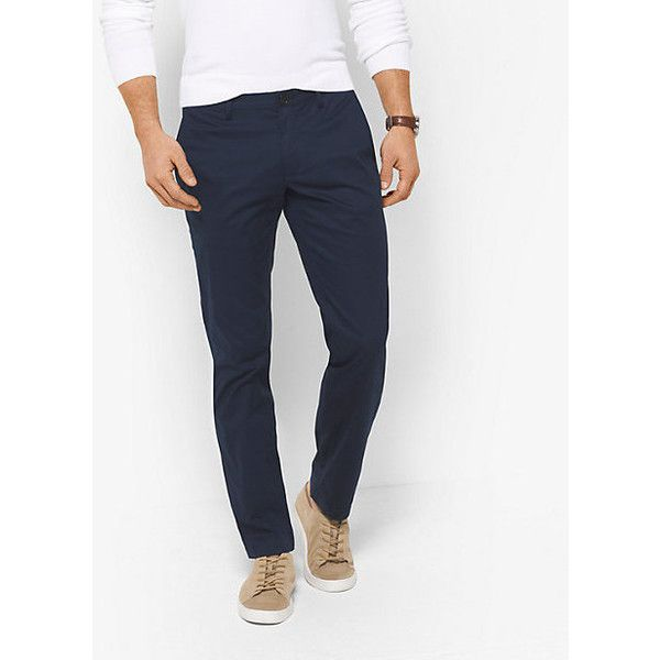 Michael Kors Mens Michael Kors Mens Skinny-Fit Cotton Chinos ($56) ❤ liked on Polyvore featuring men's fashion, men's clothing, men's pants, men's casual pants, blue, mens skinny pants, mens super skinny dress pants, mens skinny fit dress pants, mens skinny chino pants and mens cotton pants