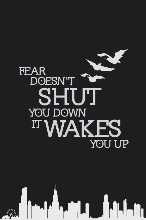 Fear doesn't shut you down, it wakes you up.                                                                                                                                                     More