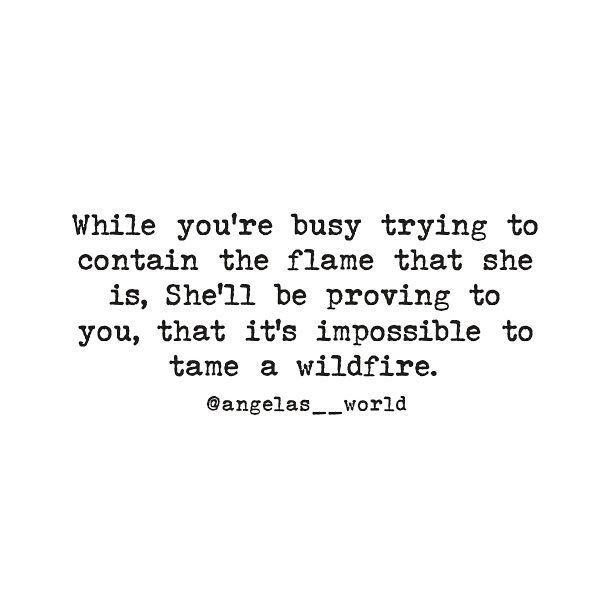 While your'e busy trying to contain the flame that she is, She'll be proving to you, that it's impossible to tame a wildfire