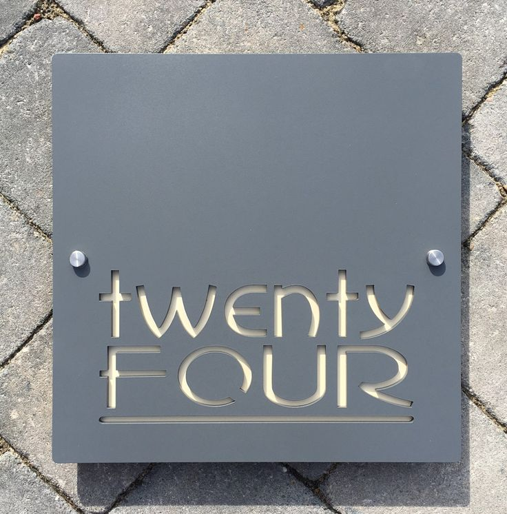 Contemporary house number door sign square plaque extra for Big modern house numbers