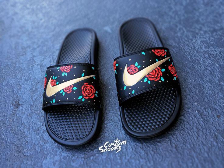 Womens Nike Slider Sandals, Custom Nike Benassi Sliders, Floral, Roses, Swoosh Slide Sandals