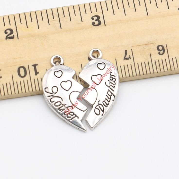 10sets/lot Antique Silver Vintage Mother Daughter Charms Pendants for Jewelry Making DIY Handmade Craft 24x13mm