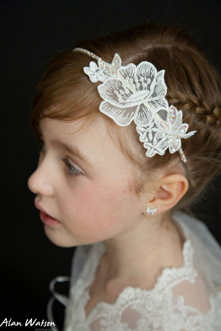 Lace And Rhinestone Headband First Holy Communion Flower Hair Accessory Luxury Designer Image By