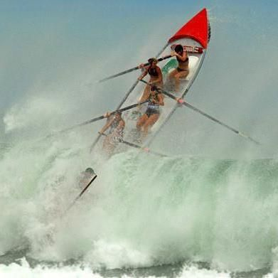 Piha New Zealand Open Women Surf Boat Crew at Day of Giants