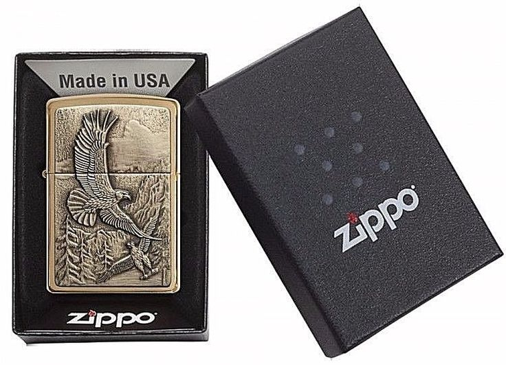 Windproof Zippo Original Classic Pocket Lighter Gift With Eagle Collectable #Zippo
