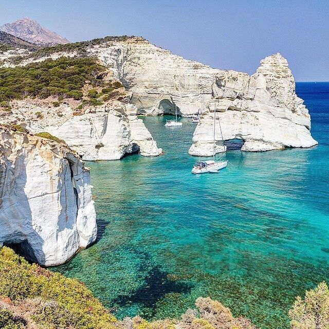 The magical cove of Kleftiko , at Milos island ( Μήλος ) . Beautiful crystal water with the imposing rocks make it a unique place in the world .  They are only accessible by boat ...but worth it !❤️