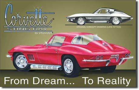 Vintage Chevy Corvette Stingray Sign reproductions, the classic Chevy muscle car…
