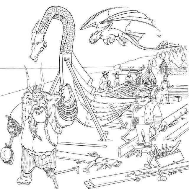 Vicky The Viking Building Longboat Coloring Pages Drachenzahmen Leicht Gemacht Malvorlagen Puff The Magic Dragon