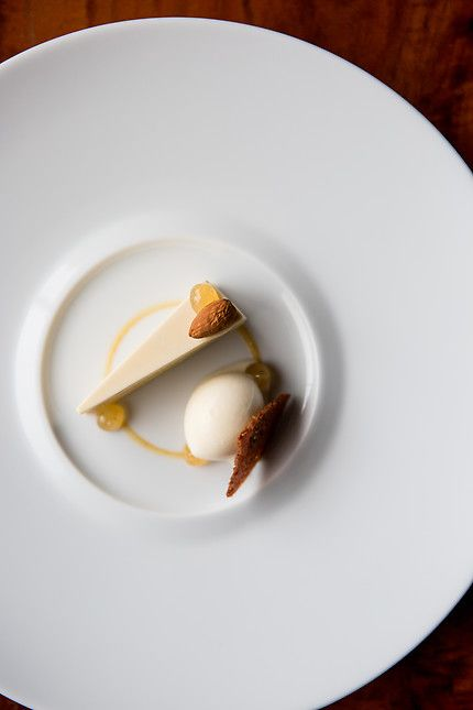 Almond Cake, Lemon, Amaretto Caramel. Pastry Chef Nick Muncy of Coi - San Francisco