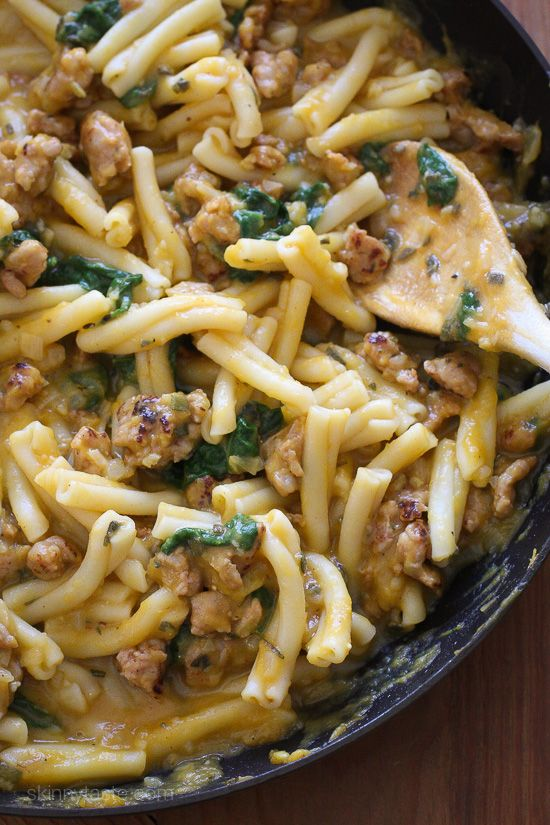Pasta in a a decadent creamy sauce made from butternut squash, no need for cream! The spicy chicken sausage and sage is the perfect compliment, this pasta dish is filling and comforting on a chilly night.