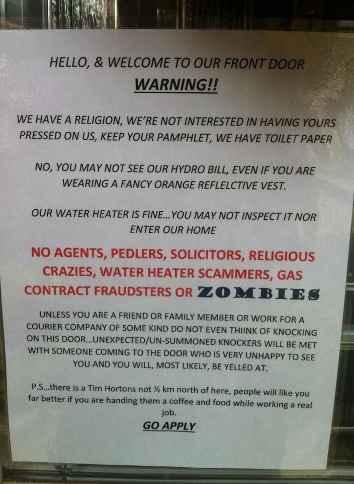 Funny sarcastic no solicitors sign   Haha   Funny, Funny ...