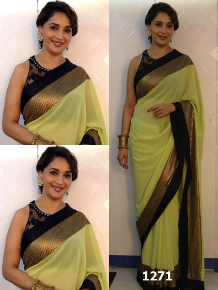 Color: Light Olive Green & Black Collection: Bollywood Replica Saree Fabric: 60g Georgette Blouse Fabric: Georgette Saree, Net Blouse & Velvet Border Petticoat: Not Available Work: Thread & Lace