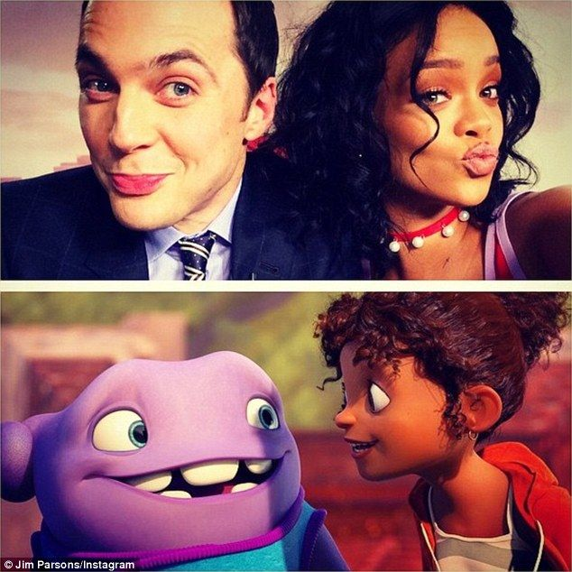 Lookalikes? Jim compared his selfie with Rihanna to their animated alter-egos in their new movie Home, in which he stars as alien Oh and the singer as Tip
