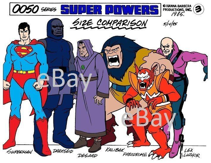 Super Powers TEAM SIZE COMPARISON MODEL SHEET PRINT 3 Darkseid Kalibak Desaad
