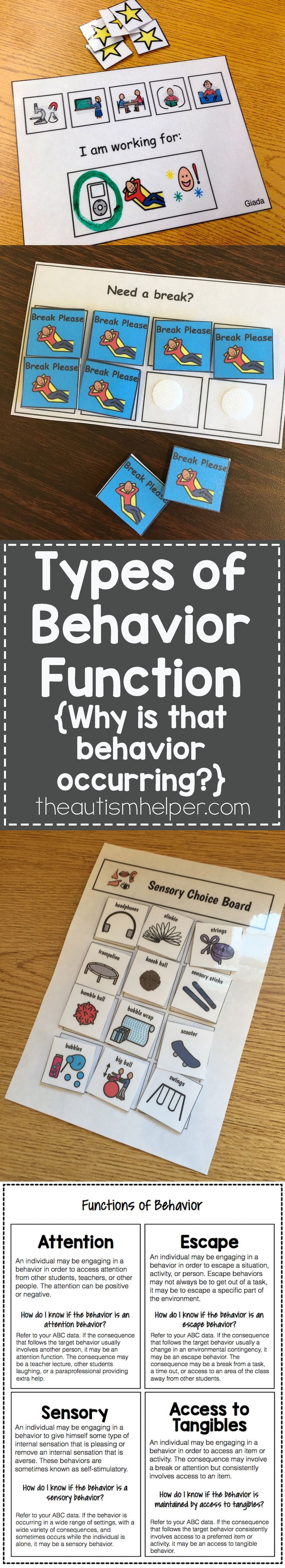 Every behavior has a reason for occurring & is followed by some type of reinforcer. Let's look closer at multiple behavioral functions on the blog! From theautismhelper.com #theautismhelper
