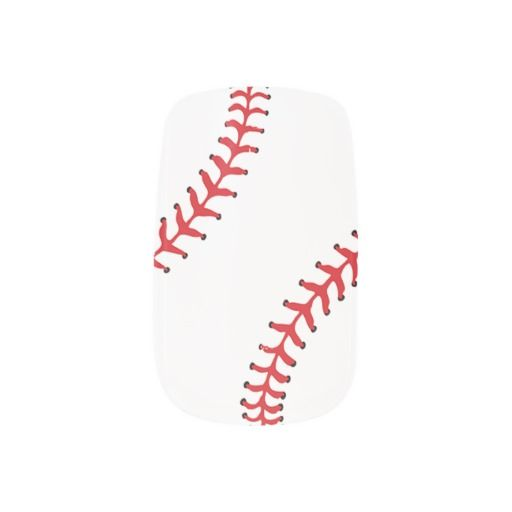A fun set of Minx nails for the baseball over featuring a baseball design with the red stitching on a white background.
