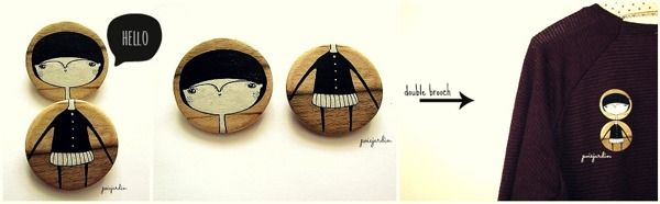Black and white double brooch by Zsuzsi Kardos, via Behance
