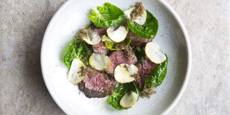 A delicious venison loin recipe by Adam Byatt, equally delicious as a meat starter or scaled up as a hearty main dish. Luxurious truffle, chestnut and buttery sprout tops are the perfect accompaniments to this warm meat salad recipe.