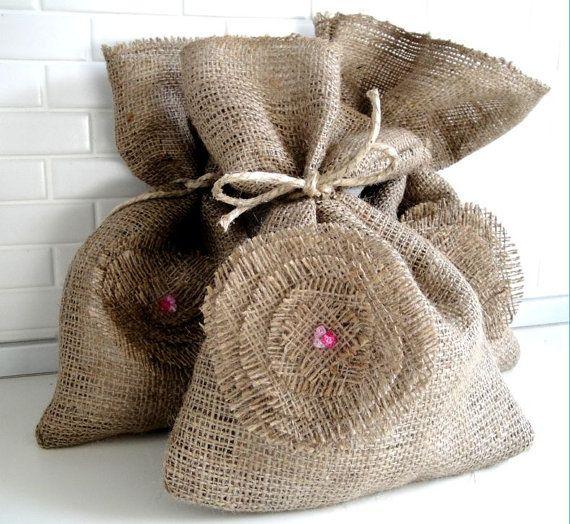 burlap gift bag with burlap flower