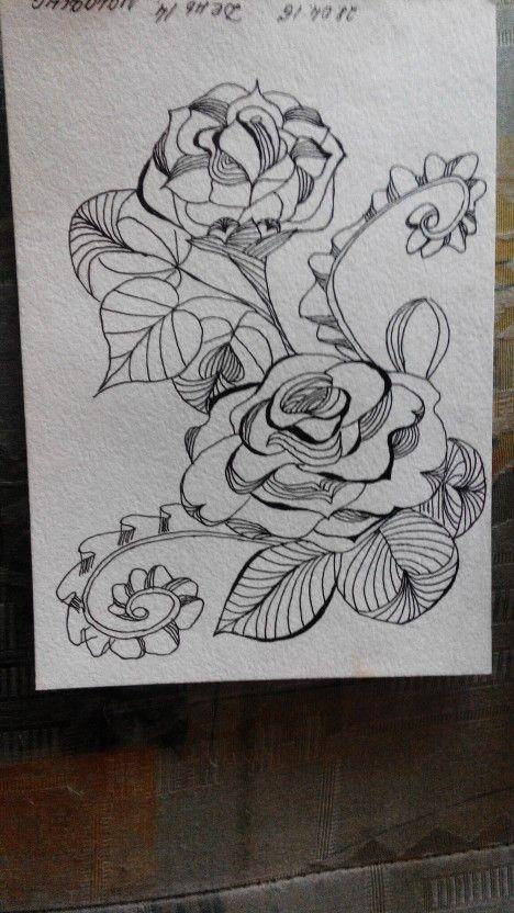 Дудлинг розы