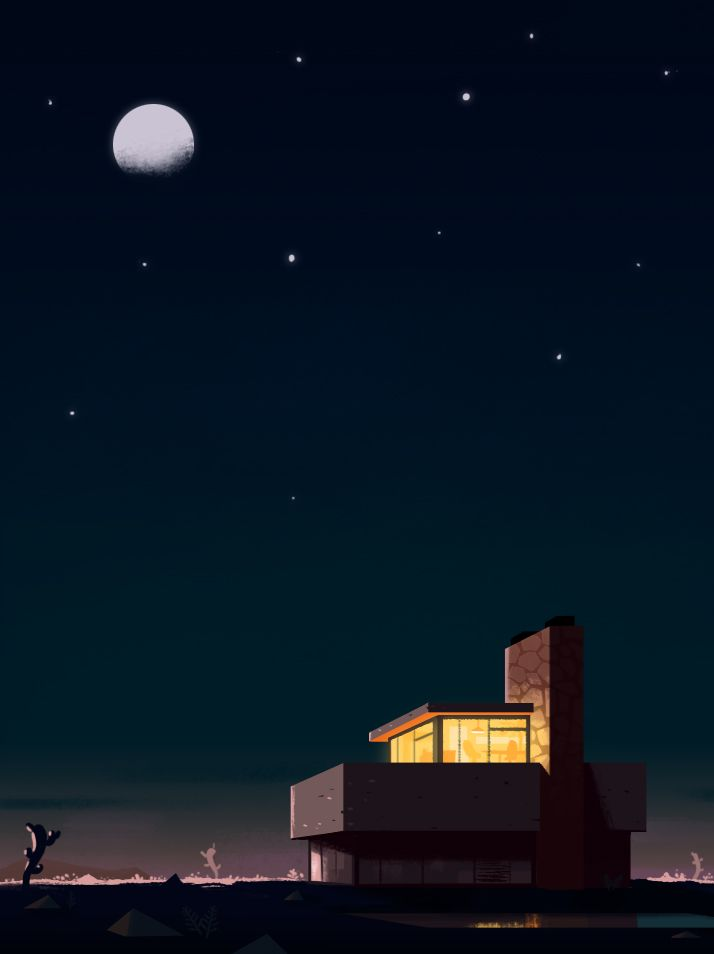 Today,I wanted to draw a modern house in a desert. It's done now ^^