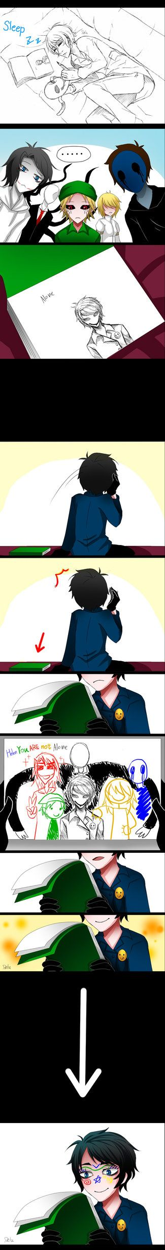 Even CreepyPastas need to know they belong... So cute .. but then they drew on his face too XD