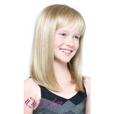 Medium Long Blonde Children's Wigs Human Hair
