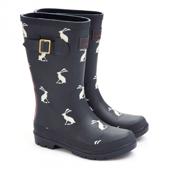 Boy's Navy Hare Printed Welly Boots - Kids Clearance on BrandAlley