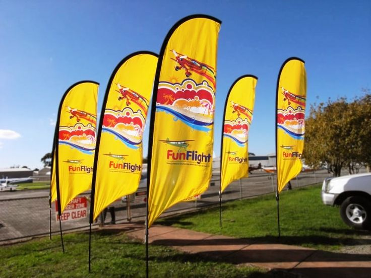 Feather flags for advertising and promotional purposes.