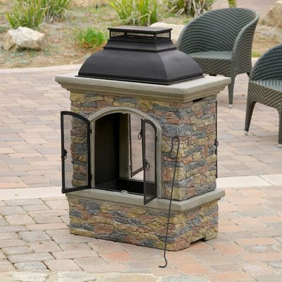 Home Loft Concepts Fresno Outdoor Natural Stone Chiminea Fireplace