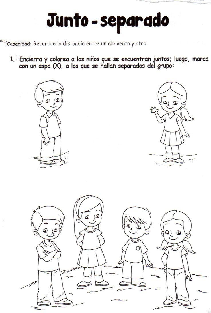 Ficha imprimible de matemáticas para 5 años. Tema: Junto - separado Actividad: Encierra y colorea a los niños que se encuentran juntos; luego, marca con un aspa (x), a los que se hallan separados del grupo.