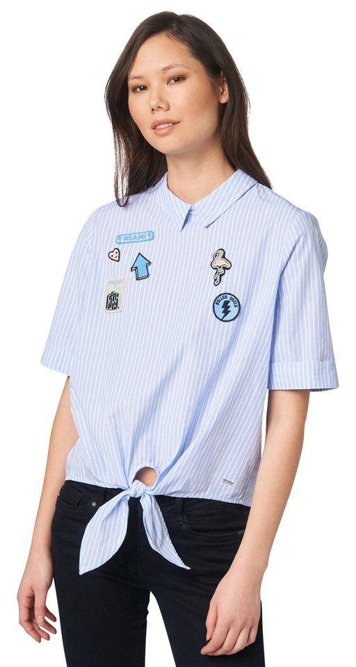 TOM TAILOR DENIM Bluse »Bluse mit Patches und Knoten« für 39,99€. Bluse mit Patches und Knoten für Frauen, cropped geschnitten, aus Popeline bei OTTO