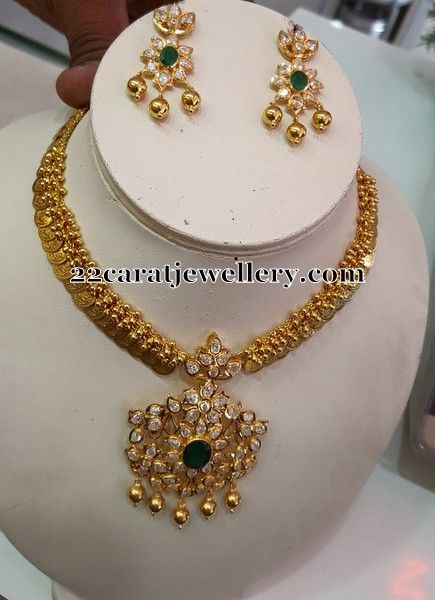 Jewellery Designs: Kasu Necklace Detachable Pendant