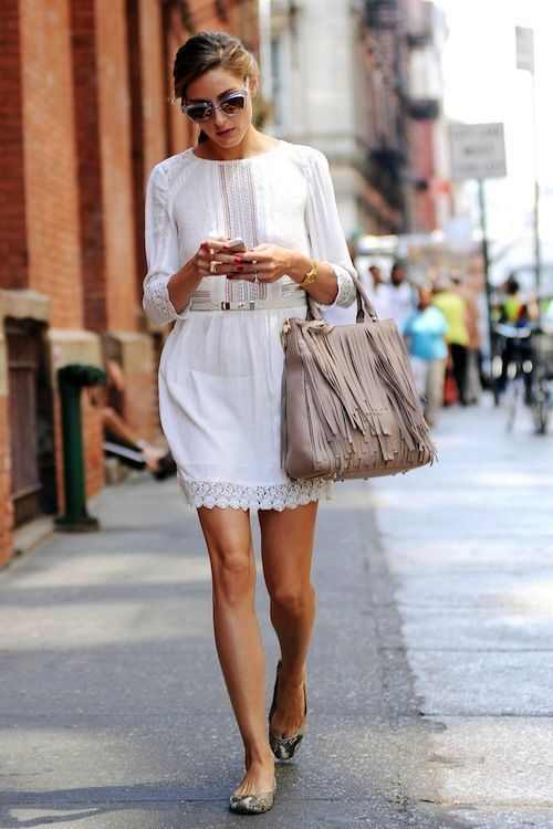 Olivia Palermo knows how to style a fringed bag.