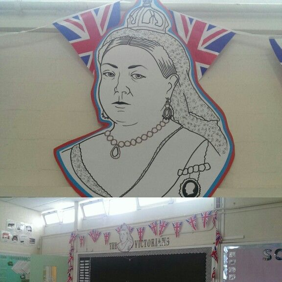 Queen Victoria and Union Jack bunting for Victorians display.