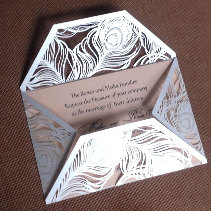 Pink Peacock Laser Cut Wedding Invitation Cards