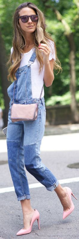 Denim dungaree trend + Arielle Nachami + pair of full length overalls + classic manner + plain white tee + cool shades   Overalls: Paige Denim, Tee: Velvet Tee, Bag: Stella McCartney, Shoes: Christian Louboutin....   Style Inspiration