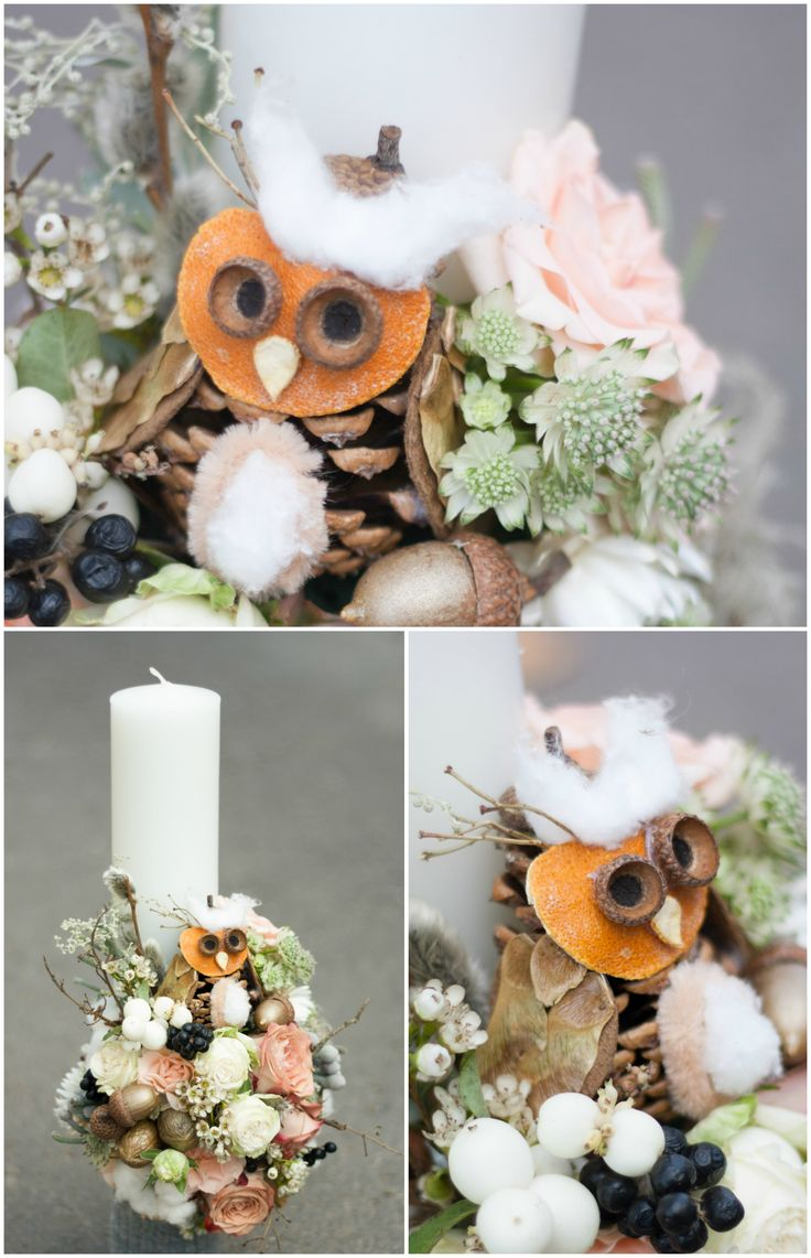 Candle decorated with flowers, with a joyful owl design. Perfect for an unconventional person.